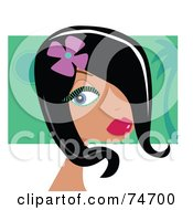 Royalty Free RF Clipart Illustration Of A Beautiful Black Haired Woman With A Flower In Her Hair Wearing Green Mascara by peachidesigns