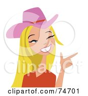 Blond Western Cowgirl Wearing A Pink Hat And Pointing Her Hand Like A Gun by peachidesigns