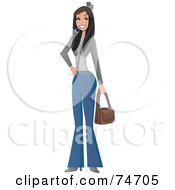 Royalty Free RF Clipart Illustration Of A Stylish Latina Woman Carrying A Purse by peachidesigns
