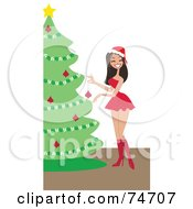 Royalty Free RF Clipart Illustration Of A Pretty Woman In A Santa Dress Decorating A Christmas Tree by peachidesigns