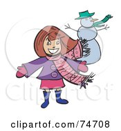 Royalty Free RF Clipart Illustration Of A Happy Girl Presenting Her Snowman by peachidesigns