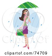 Royalty Free RF Clipart Illustration Of A Stylish Brunette Woman Carrying A Bag And Walking In The Rain Under An Umbrella by peachidesigns