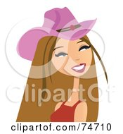 Dirty Blond Western Cowgirl Wearing A Pink Hat