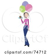 Royalty Free RF Clipart Illustration Of A Happy Birthday Woman Carrying A Slice Of Cake And Walking By Balloons