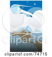 Royalty Free RF Clipart Illustration Of A Blue Retro Scene Of Sputnik Orbiting Around Earth by xunantunich