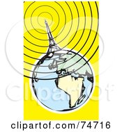 Royalty Free RF Clipart Illustration Of A Communications Tower Eiffel Tower Sending Out Signals Around The Globe by xunantunich