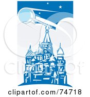 Royalty Free RF Clipart Illustration Of A Blue Scene Of Sputnik Passing Over The Red Square Retro Style