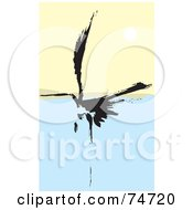 Royalty Free RF Clipart Illustration Of A Black Abstract Crane Landing On Water by xunantunich