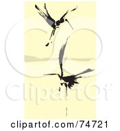 Two Black Abstract Cranes Flying Over Water