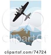Royalty Free RF Clipart Illustration Of A Silhouetted American Bomber Aircraft Flying Over The USA by xunantunich