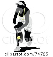 Royalty Free RF Clipart Illustration Of A Silhouetted Woman Leaping For A Tennis Ball by leonid #COLLC74725-0100