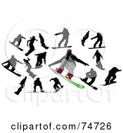 Royalty Free RF Clipart Illustration Of A Digital Collage Of Silhouetted Men Snowboarding by leonid