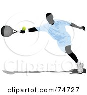Royalty Free RF Clipart Illustration Of A Silhouetted May Reaching For A Tennis Ball