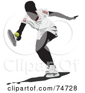 Royalty Free RF Clipart Illustration Of A Silhouetted Woman Reaching For A Tennis Ball