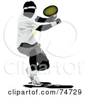 Royalty Free RF Clipart Illustration Of A Silhouetted Man Swinging At A Tennis Ball
