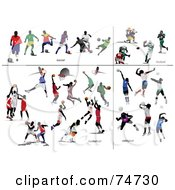 Royalty Free RF Clipart Illustration Of A Digital Collage Of Men Playing Ball Games Soccer Football Basketball And Volleyball by leonid