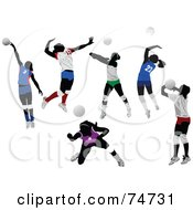 Royalty Free RF Clip Art Illustration Of A Digital Collage Of Faceless Women Playing Volleyball