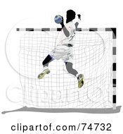 Royalty Free RF Clipart Illustration Of A Handball Player Leaping By A Net by leonid