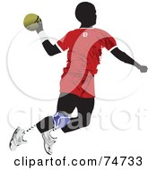 Royalty Free RF Clipart Illustration Of A Silhouetted Man Playing Handball by leonid