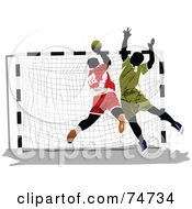 Royalty Free RF Clipart Illustration Of Two Handball Players By A Net by leonid