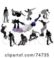 Royalty Free RF Clipart Illustration Of A Digital Collage Of Silhouetted Men Skateboarding