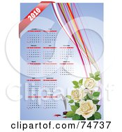 Royalty Free RF Clipart Illustration Of A Year 2010 12 Month Calendar With White Roses And Colorful Ribbons On Blue