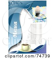 Royalty Free RF Clipart Illustration Of A Blue And White Menu Design With Sample Text Coffee And A Hard Boiled Egg