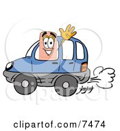 Clipart Picture Of A Bandaid Bandage Mascot Cartoon Character Driving A Blue Car And Waving by Toons4Biz