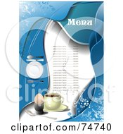 Royalty Free RF Clipart Illustration Of A Blue Menu With Grunge Coffee Place Setting And A Hard Boiled Egg With Sample Text
