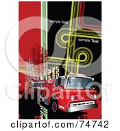 Royalty Free RF Clipart Illustration Of A Background Of A Fire Truck With Splatters Skid Marks Sample Text And Funky Lines by leonid
