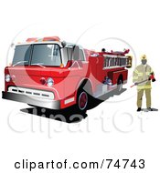 Fireman Standing By A Fire Truck by leonid