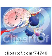 Royalty Free RF Clipart Illustration Of A Happy New Year Greeting With A Clock And Ornaments On Blue