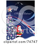 Royalty Free RF Clipart Illustration Of A Merry Christmas Greeting With Santa By A Christmas Tree On Blue