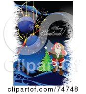 Royalty Free RF Clipart Illustration Of A Merry Christmas Greeting With Santa White Grasses A Tree And Ornaments Over Blue