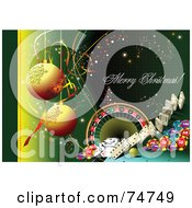 Royalty Free RF Clipart Illustration Of A Merry Christmas Casino Greeting With Baubles And Casino Items On Green