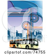 Royalty Free RF Clipart Illustration Of A City Bus Driving By Skyscrapers On A Funky Background Of Lines And Waves by leonid