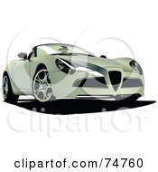 Royalty Free RF Clipart Illustration Of A Pastel Green Convertible Sports Car by leonid