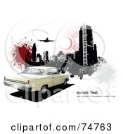 Royalty Free RF Clipart Illustration Of A Retro Beige Car With Grungy City Buildings Splatters Sample Text And A Plane On White
