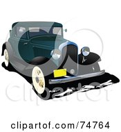 Royalty Free RF Clipart Illustration Of A Vintage Teal Automobile by leonid