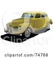 Royalty Free RF Clipart Illustration Of A Vintage Yellow Automobile by leonid