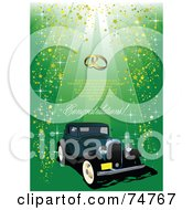 Royalty Free RF Clipart Illustration Of A Vintage Teal Automobile With Gold Glitter On Green With Sample Text And Wedding Rings by leonid