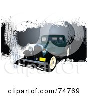 Royalty Free RF Clipart Illustration Of A Vintage Teal Automobile Over Splattered Grunge On White by leonid