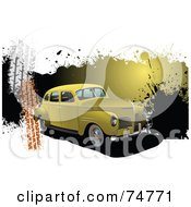 Royalty Free RF Clipart Illustration Of A Vintage Yellow Automobile Over Grunge Splatters And Tire Marks On White by leonid