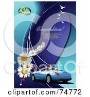 Royalty Free RF Clipart Illustration Of A Convertible Car On A Blue Background With Daisies Stars Birds Wedding Rings And Sample Text by leonid