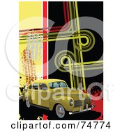 Royalty Free RF Clipart Illustration Of A Vintage Yellow Automobile With Skid Marks And Funky Lines With Splatters by leonid
