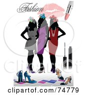 Royalty Free RF Clipart Illustration Of A Fashion Background Of Three Silhouetted Women In Dresses With Shoes And Makeup Over White by leonid