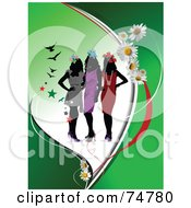 Royalty Free RF Clip Art Illustration Of A Green Background Of Fashionable Women In Dresses With Flowers And Stars