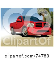 Royalty Free RF Clipart Illustration Of A Red Pickup Truck On A Beach by leonid