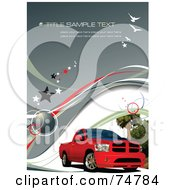 Royalty Free RF Clipart Illustration Of A Red Pickup Truck On A Gray Background With Sample Text Birds Stars Waves And Trees by leonid