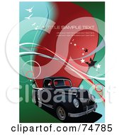 Royalty Free RF Clipart Illustration Of A Black Vintage Pickup Truck On A Red Blue And Green Background With Stars Birds Waves And Sample Text